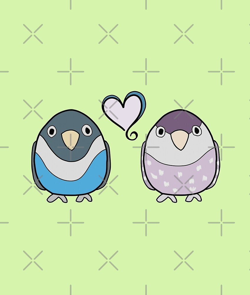 Blue and Purple Birds in Love by VivianRosalee