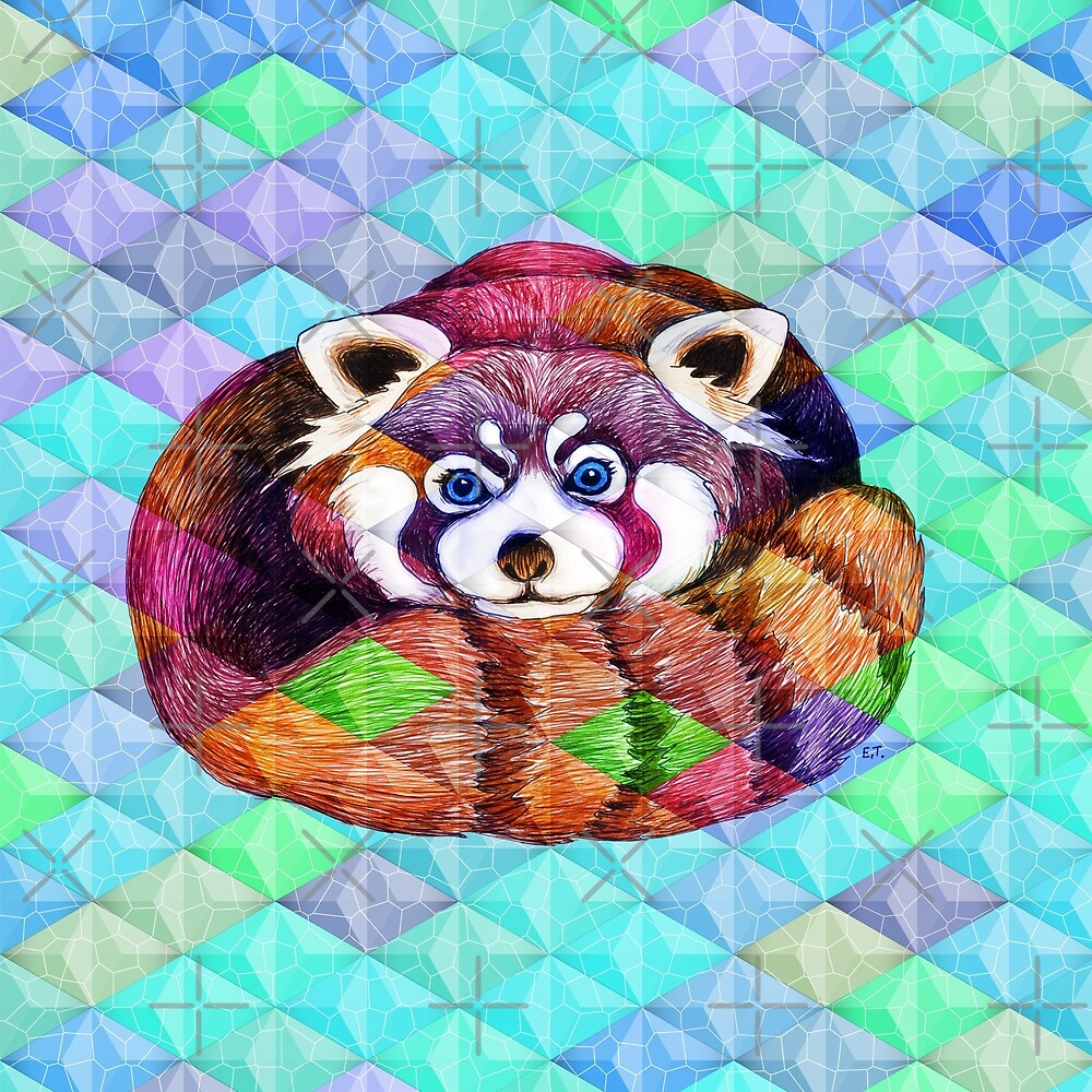 Rainbow Cubism Red Panda Bear by eveystudios