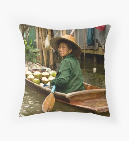 Coconut Milk Boat Throw Pillow