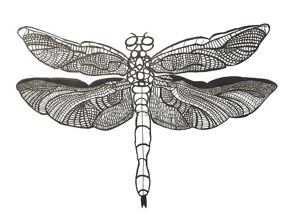 Black and White Mosaic Dragonfly by KacieVlach