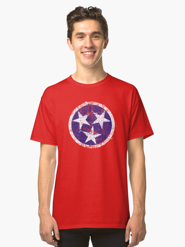 Grunge State Flag Of Tennessee Classic T-Shirt Front