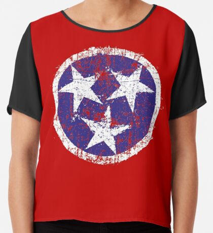 Grunge State Flag Of Tennessee Chiffon Top