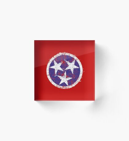 Grunge State Flag Of Tennessee Acrylic Block