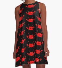 Crab on Black A-Line Dress