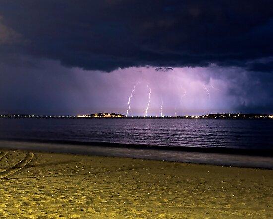Lightning over Nahant from Revere Beach Revere MA by WayneOxfordPh