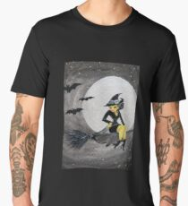 Happy Halloween Witch Sitting on a Broom Men's Premium T-Shirt