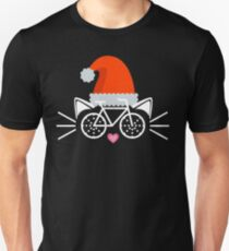 Cat Face Graphic Tee Cycling Enthusiast Christmas Gift Shirt Unisex T-Shirt