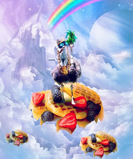Cat Riding Ostrich On Clouds And Waffles by SkylerJHill