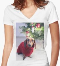 Cute Dachshund Women's Fitted V-Neck T-Shirt