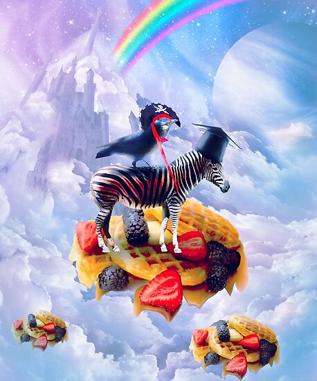 Crow Riding Zebra On Clouds And Waffles by SkylerJHill