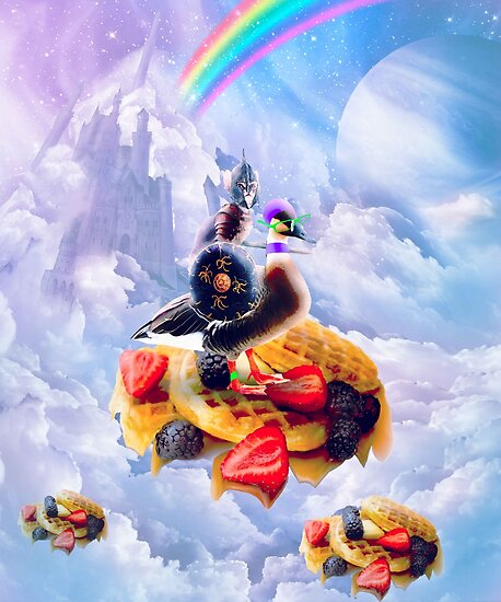 Cat Riding Goose On Clouds And Waffles by SkylerJHill