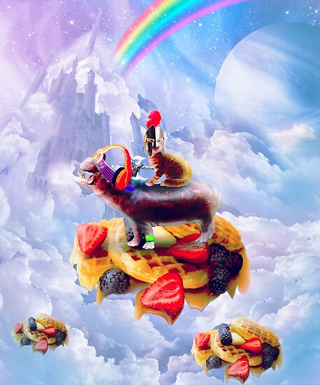 Cat Riding Hippo On Clouds And Waffles by SkylerJHill