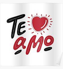 Hand drawn lettering Te amo. Te amo - My love in Italian, romantic decorative lettering. Vector Valentine's day card ore poster.  Poster