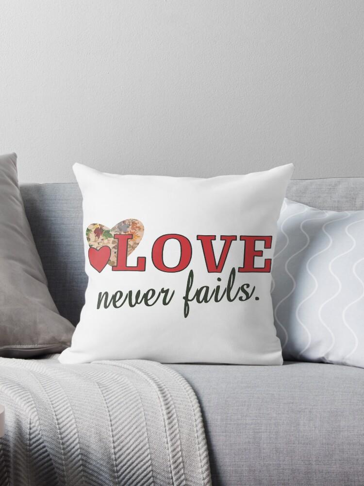 Love Never Fails Coffee Mug, Clock or Throw Pillow by Wokeness