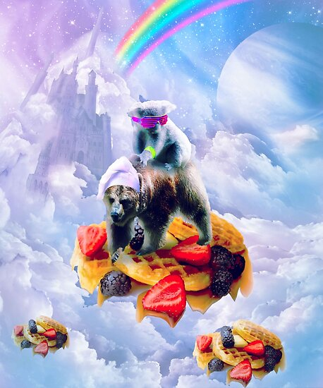 Koala Riding Bear On Clouds And Waffles by SkylerJHill