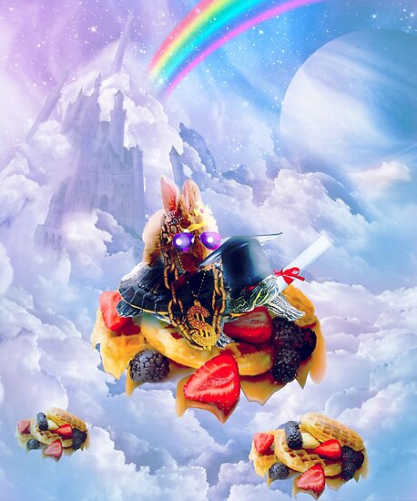 Bunny Riding Turtle On Clouds And Waffles by SkylerJHill