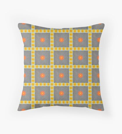 Vibrant Orange and Yellow Flowers in Squares Retro Pattern Throw Pillow