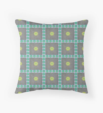 Robins Egg Blue and Green Flowers in Squares Rerto Pattern Throw Pillow