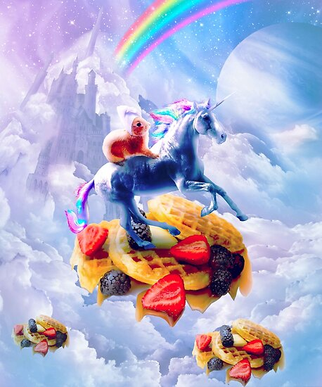 Bunny Riding Unicorn On Clouds And Waffles by SkylerJHill