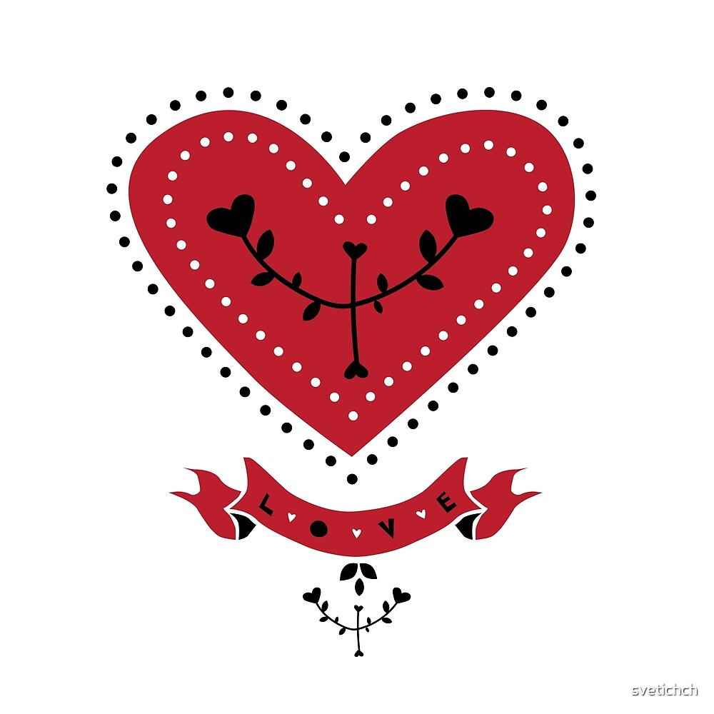 Hand drawn illustration heart. Flowers and hearts. Vector Valentine's day card ore poster. by svetichch