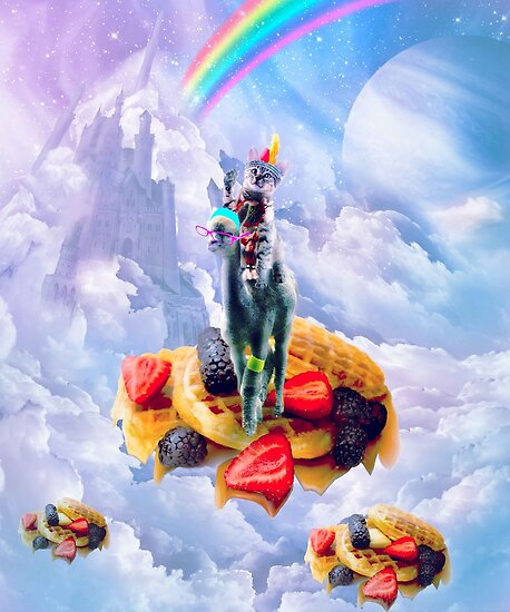 Cat Riding Alpaca On Clouds And Waffles by SkylerJHill