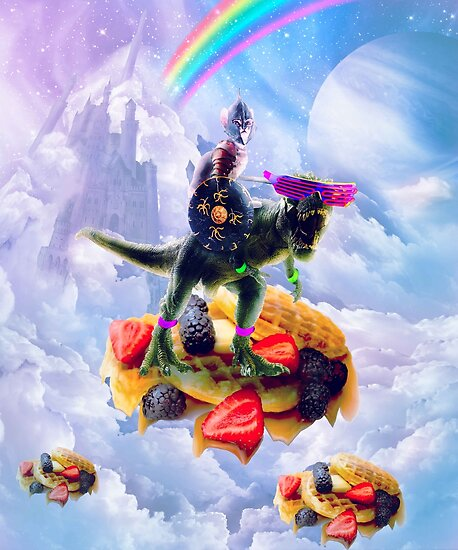 Cat Riding Dinosaur On Clouds And Waffles by SkylerJHill