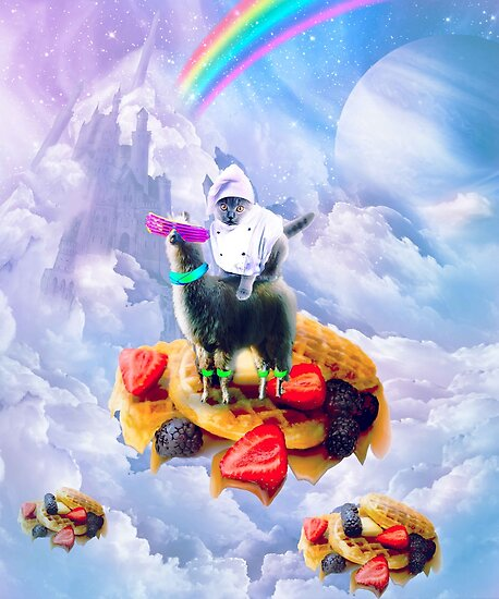 Cat Riding Llama On Clouds And Waffles by SkylerJHill