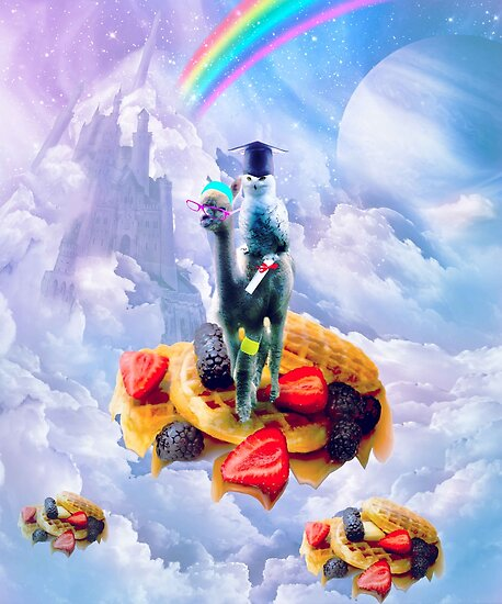 Owl Riding Alpaca On Clouds And Waffles by SkylerJHill
