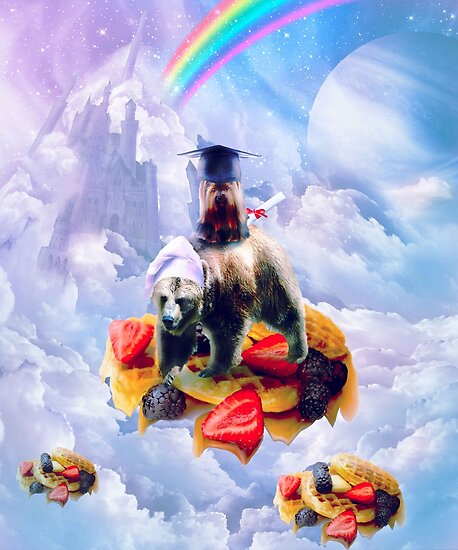 Dog Riding Bear On Clouds And Waffles by SkylerJHill