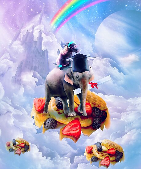 Dog Riding Elephant On Clouds And Waffles by SkylerJHill
