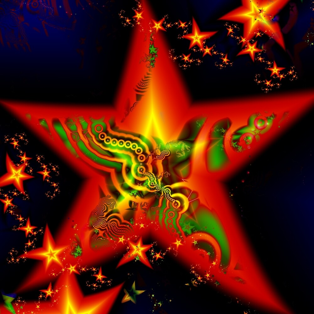 Bright colorful fractal star by ivanoel