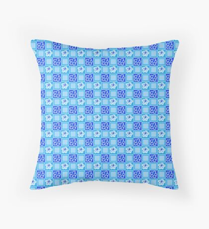 Blue Flowers in Squares Retro Pattern Throw Pillow