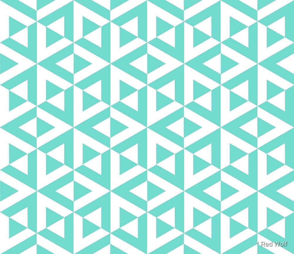 Geometric Pattern: Cube Split: Blue by * Red Wolf