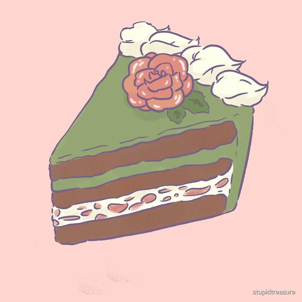 gâteau au thé vert et à la rose by stupidtreasure
