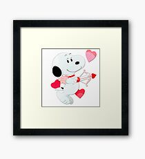 Snoopy cupid Framed Print