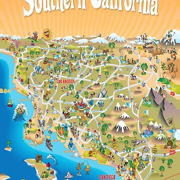 Sunny Cartoon Map of Southern California by Lines