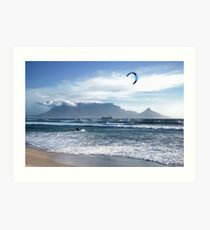 Kite Surfing in Cape Town, South Africa Art Print