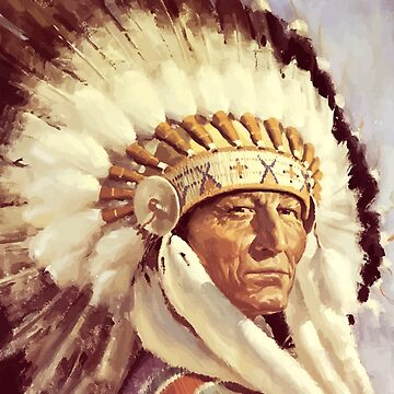 Native, Tribe, American, Indian Chief, Native American tribe, Indian, Head dress by TOMSREDBUBBLE