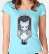 Mystic Miku | Crystal Ball & Zodiac | Teal Fitted Scoop T-Shirt