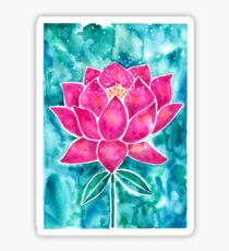 Sacred Lotus – Magenta Blossom with Turquoise Wash Sticker