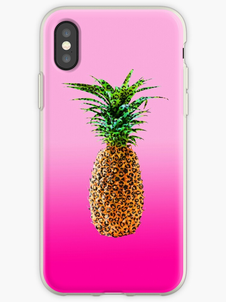 Modern pop leopard pattern pineapple on 90's neon pink gradient by GirlyTrend