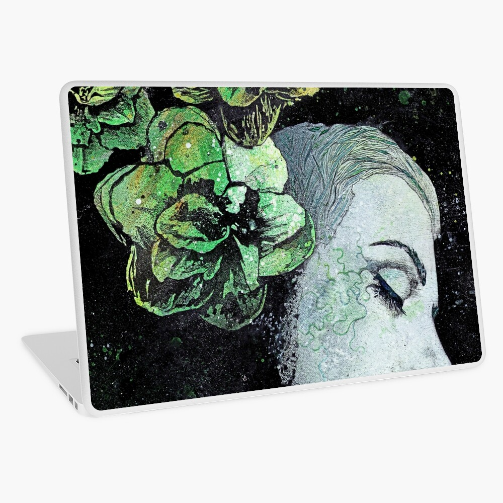 Obey Me (flower girl portrait, spray paint graffiti painting) Laptop Skin