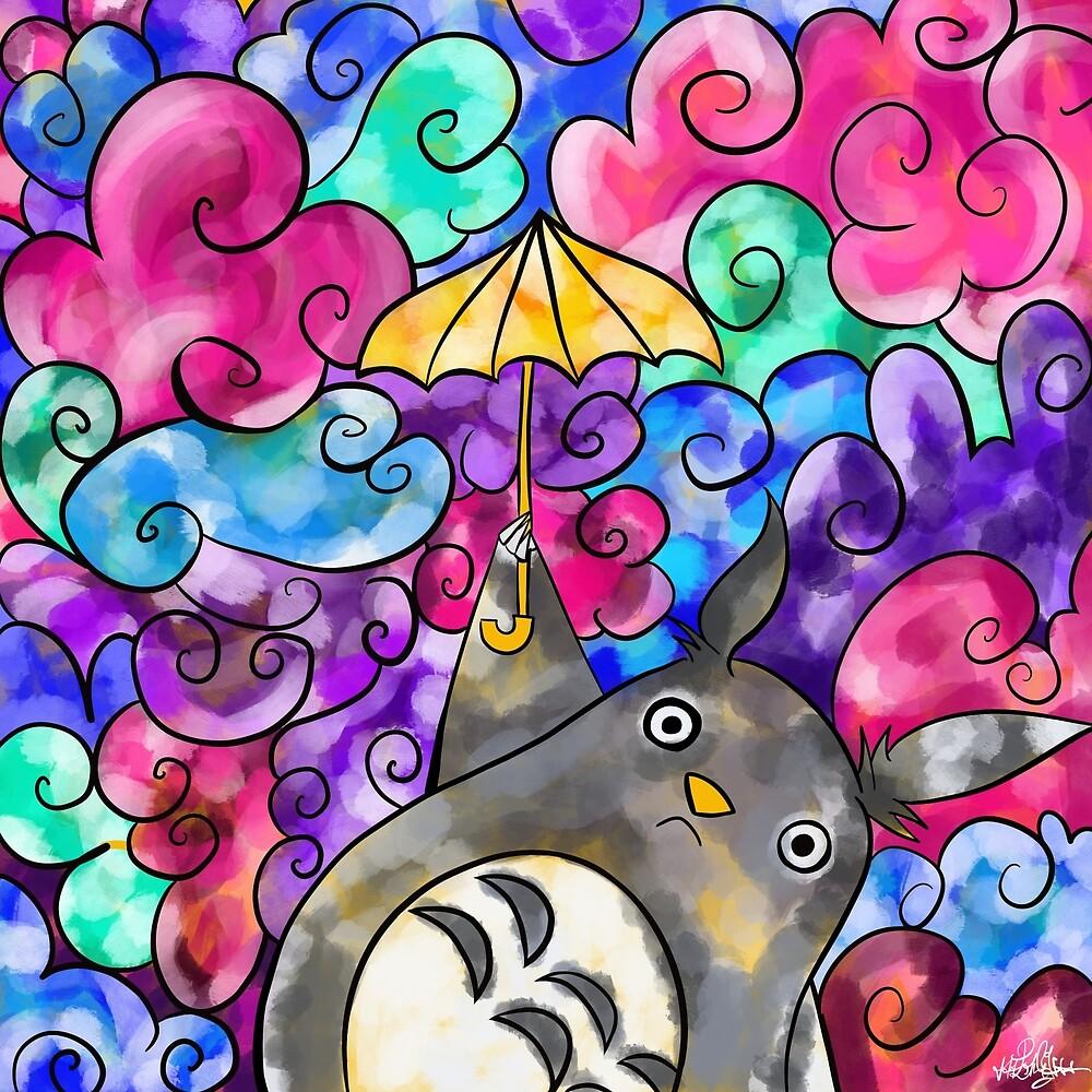Totoro s'envole  by Muxette