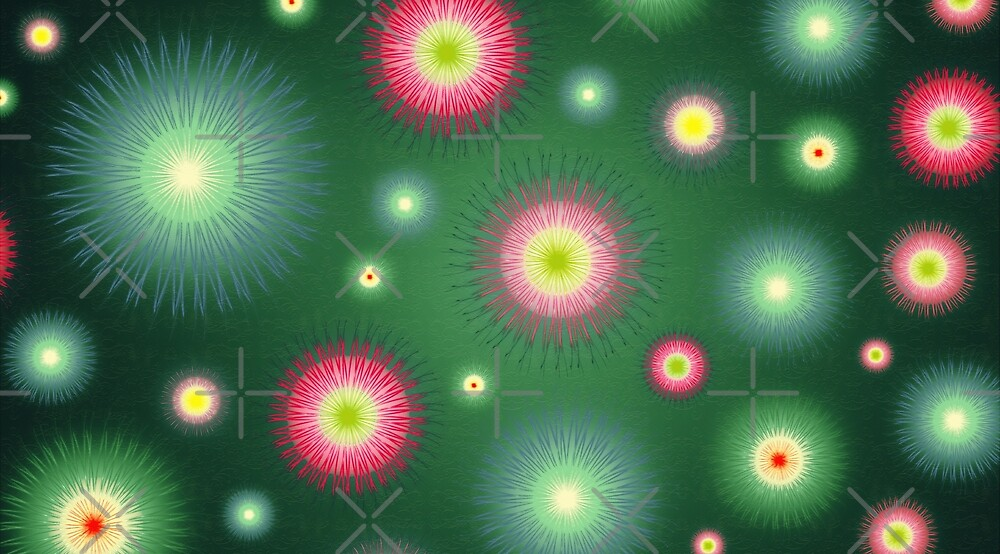 Abstract flowers over dark green graduated background. Spring and summer concept. by dani3315