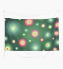 Abstract flowers over dark green graduated background. Spring and summer concept. Wall Tapestry