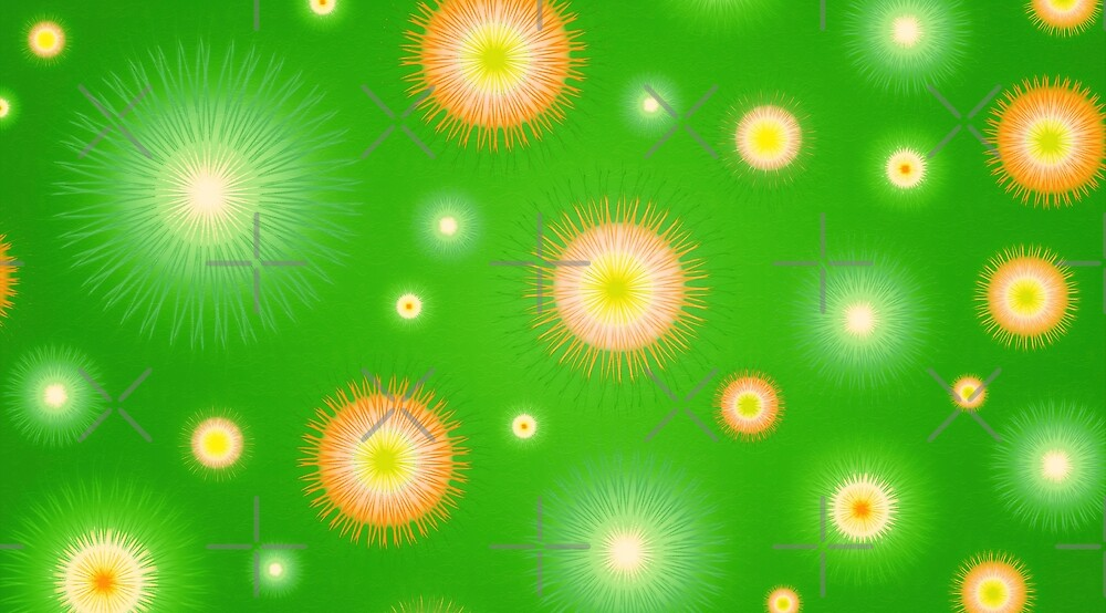 Abstract flowers over light green graduated background. Spring and summer concept. by dani3315