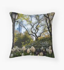 Springtime Tulips in Central Park New York City Throw Pillow