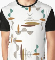 Mid-Century Modern Ovals and Lines Graphic T-Shirt
