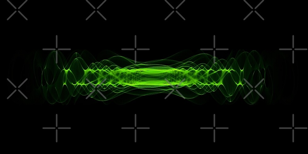 Plasma or high energy force concept. Green glowing energy waves on black  by dani3315