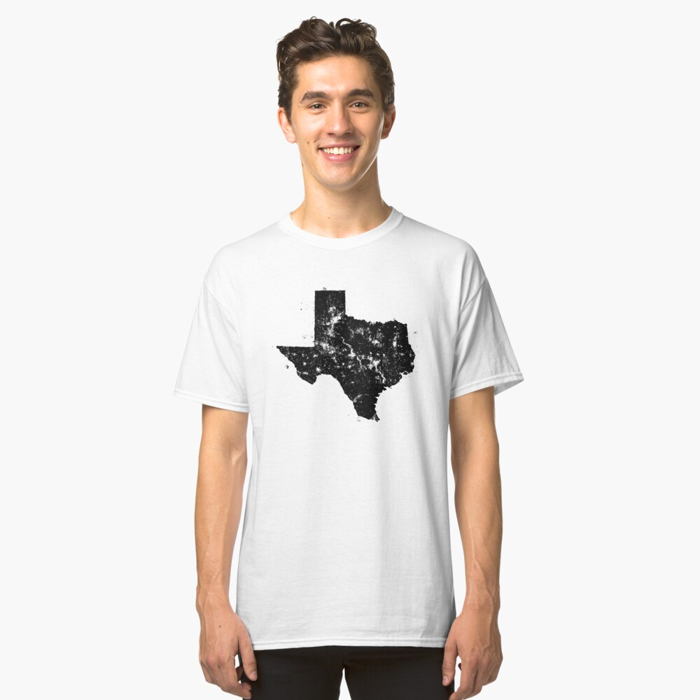 Vintage Texas Map Silhouette Classic T-Shirt Front